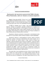 Declaración de Rubalcaba sobre el Rescate Financiero