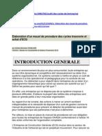 Elaboration Du Manuel de Procedure