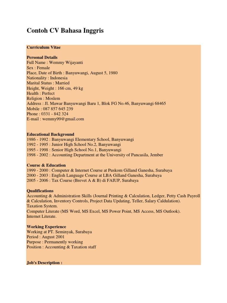 Contoh Cv Bahasa Inggris Invoice Accounting