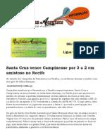 Santa Cruz Vence Campinense Por 3 a 2 Em Amistoso No Recife