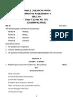 English Sample Question Paper X SA2