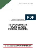 40 engagements pour l'égalite Femmes-Hommes