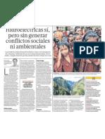 Hidroelectricas si pero sin conflictos sociales Peru