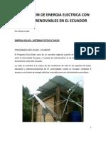 Generacion de Energia Electrica Con Fuentes Renovables en El Ecuador