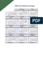 Calendario 2012 Com Semanas
