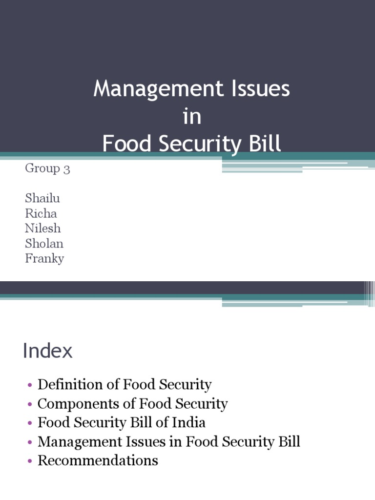 issues in food security bill   food security   foods