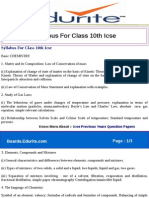 Syllabus for Class 10th Icse