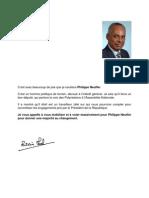 Lettre de soutien du Ministre de l'Outre mer à M. Philippe NEUFFER