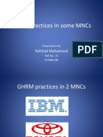 GHRM Practices in Some MNCs