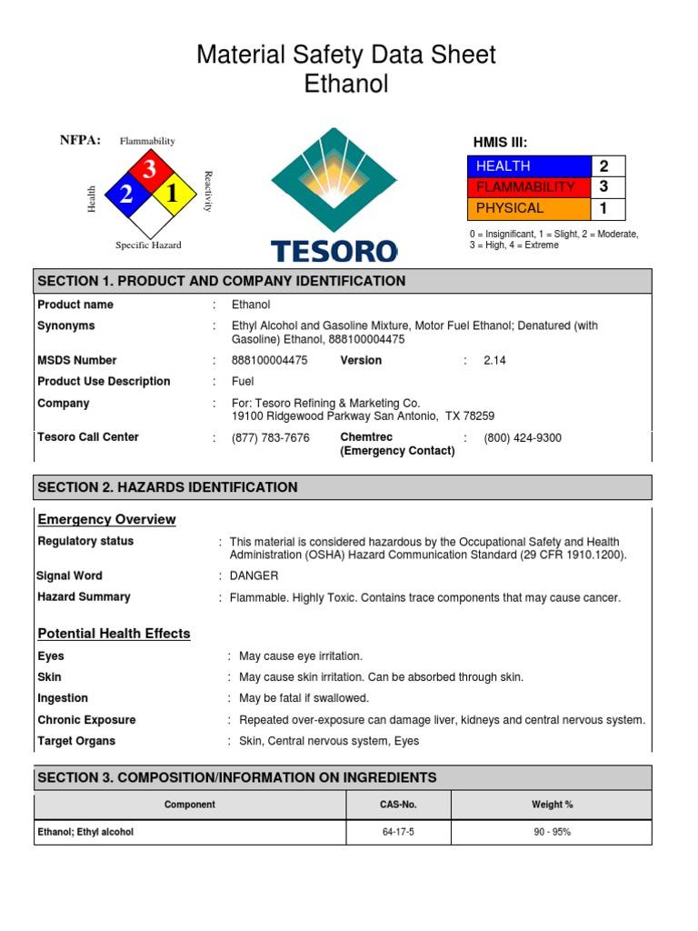 Msds Ethanol   Ethanol   Toxicity