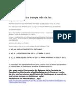 Adelantamiento de Internas y Desbloqueo Total de Listas.