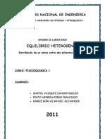 """Imforme de 2do laboratorio de Fisicoquimica:""""Equilibrio Heterogeneo"""""""
