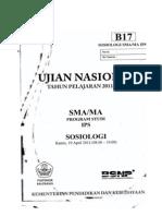 Soal UN Sosiologi Tipe B17 Tahun 2012