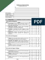 Performnace Appraisal Form