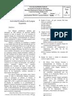 TESTE DE ESPANHOL TIPO A 3ºs