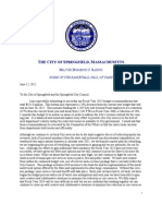 Springfield Budget Message From Mayor Sarno and Lee Erdmann Amd Executive Summary