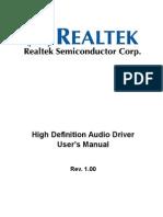 Realtek HDA Audio User Manual Ver1.0