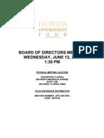 Enterprise Florida - Florida Opportunity Fund Board of Directors Meeting Agenda June 13, 2012