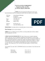 Estate Planning Worksheet for Single People