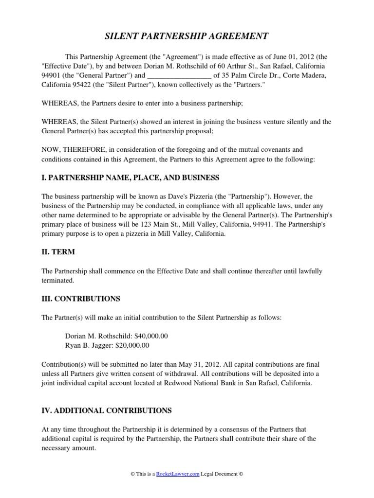 Silent Partnership Agreement General Partnership – Partner Contract Sample