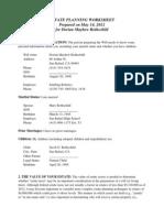 Estate Planning Worksheet for Married People
