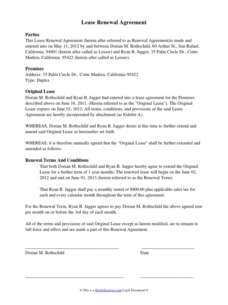 Lease Renewal Agreement
