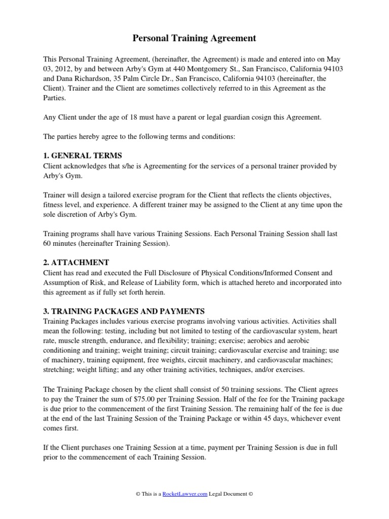 Personal Training Agreement Weight Training Cardiac Arrhythmia