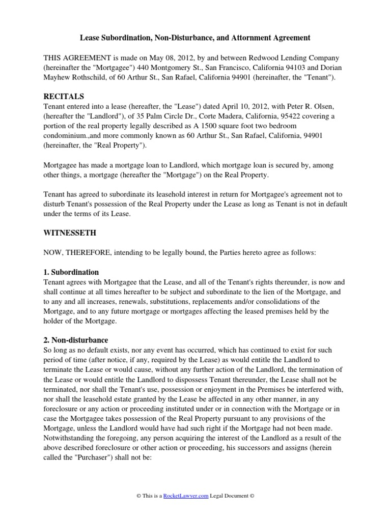 Lease Subordination Agreement Lease Mortgage Law