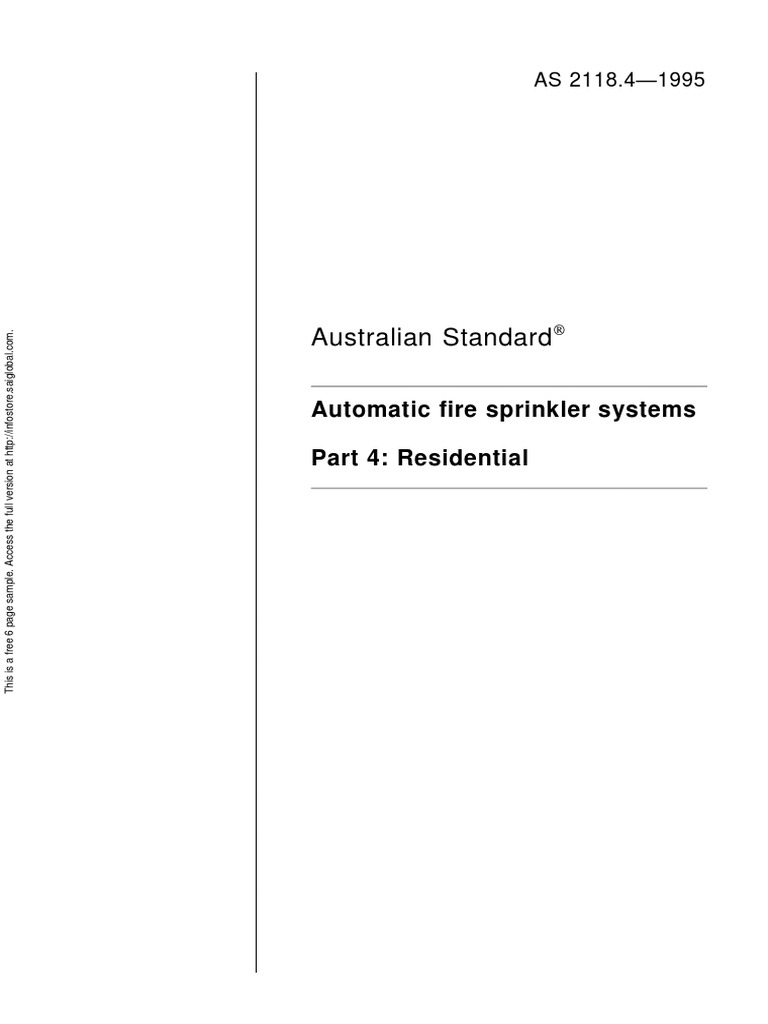 As 2118.4-1995 Automatic Fire Sprinkler Systems Residential | Fire ...