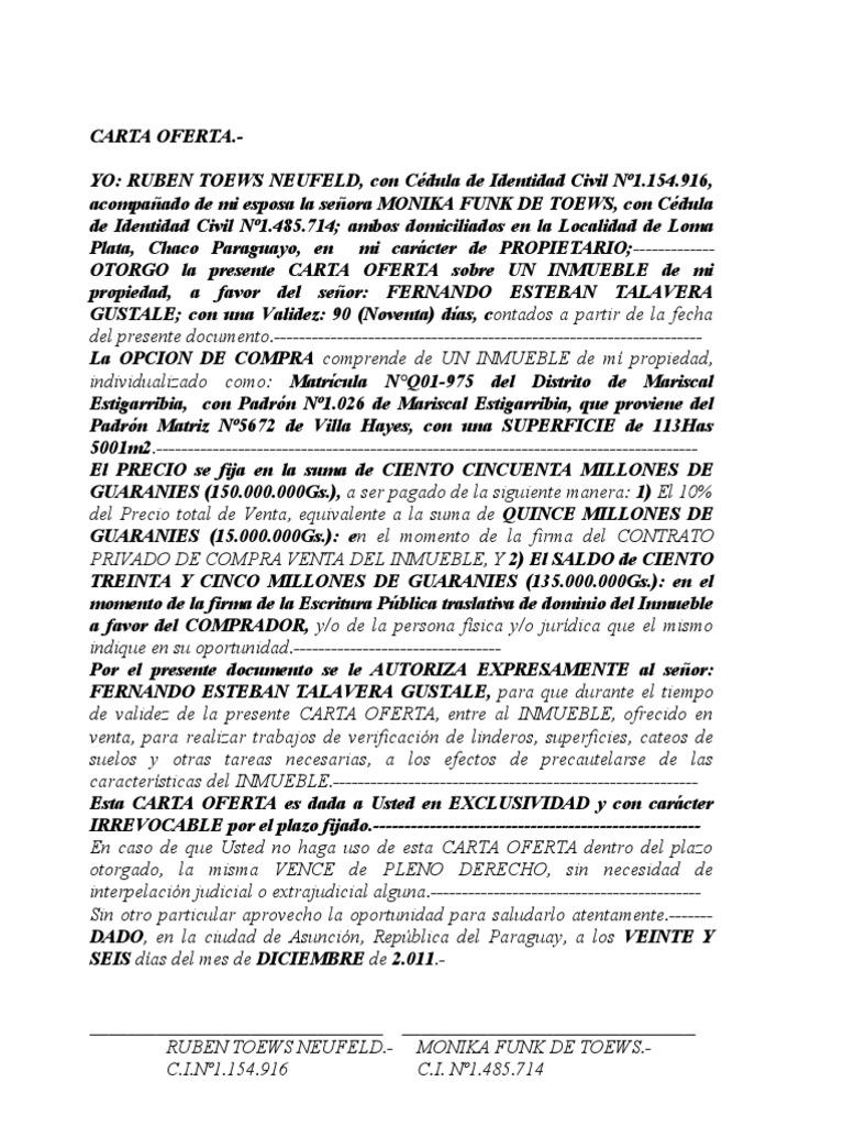 Carta oferta ing fernando 2 for Cedula de habitabilidad precio