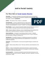 Social Anxiety Disorder Glossary