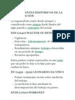 ANTECEDENTES HISTÓRICOS DE LA ORGANIZACIÓN