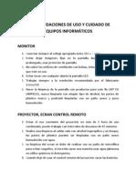 RECOMENDACIONES DE USO Y CUIDADO DE EQUIPOS INFORMÁTICOS