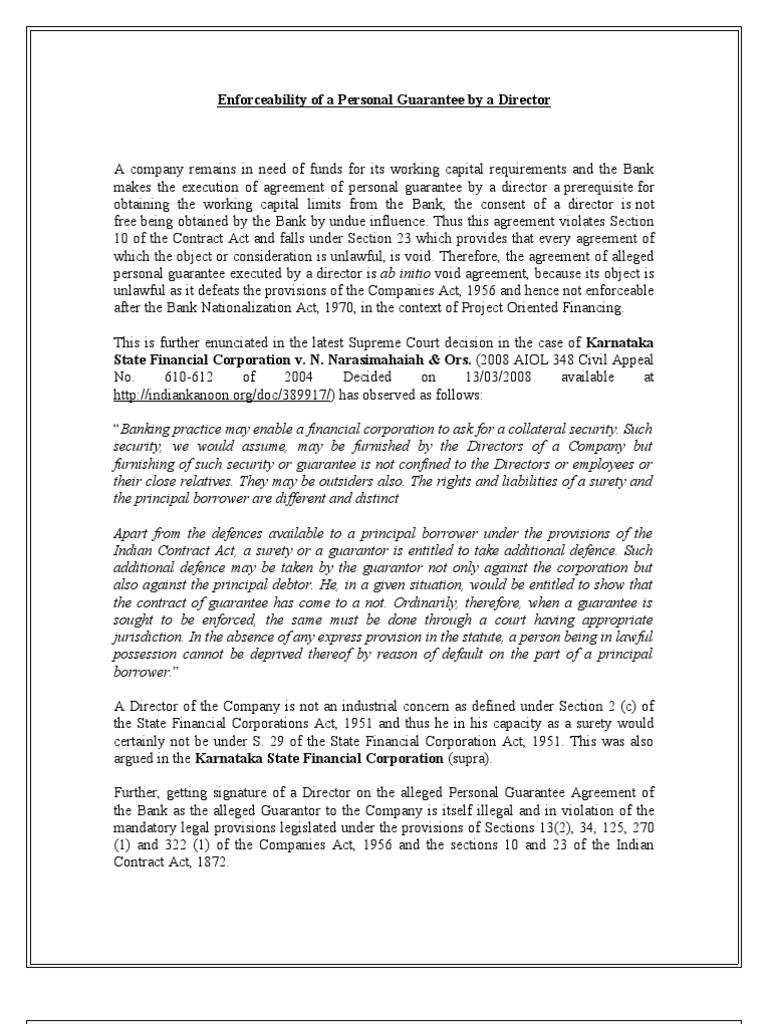 Enforceability Of Personal Guarantee By A Director Guarantee