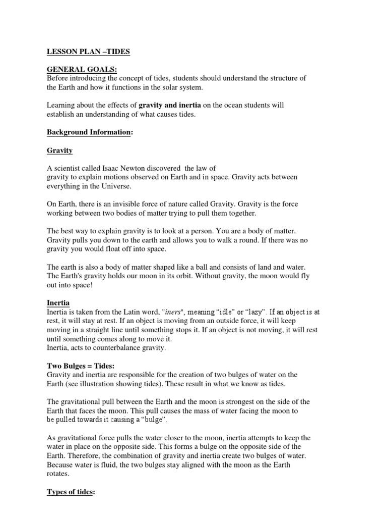 Lesson Plan -Tides - Copy | Tide | Inertia