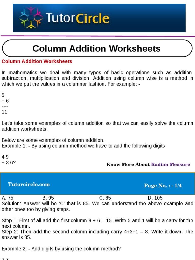 Column Addition Worksheets Worksheet Mathematical Problem Solving