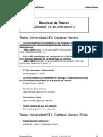 Resumen prensa CEU-UCH 13-06-2012