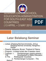 Seminar on Preschool Educcation Administration for South-east Asian