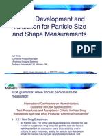 Willen FFY Method Development Particle Size Shape Measurements