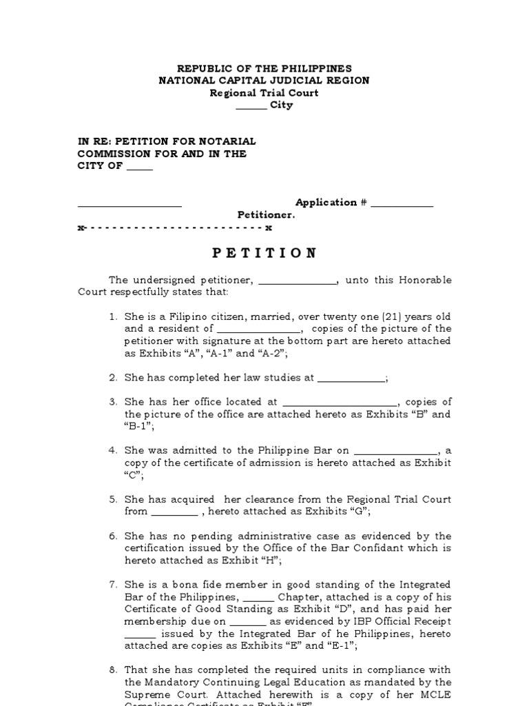 Petition For Notarial Commission Template Notary Public Legal