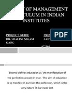 A Study of Management Curriculum in Indian Institutes