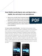 Xperia Miro Xperia Tipo Press Release