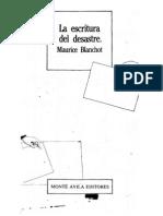 Maurice Blanchot - A Escritura Do Desastre (Espanhol)