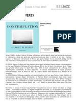 """Communiqué de presse de """" Contemplation """" de Gabriel Zufferey (BEE052)"""