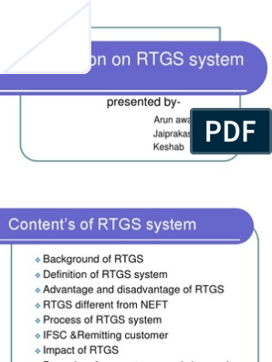 rtgs ppt | Payment System | Financial Transaction