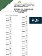 GABARITO PROVÃO DO ENEM 2010 - OFICIAL PRELIMINAR - 1º DIA - PROVA II