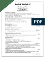 Bartek's Resume