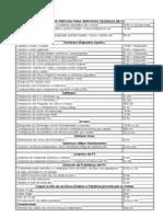 Lista de Precios Para Servicios Tecnicos