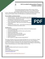 USC Leventhal Undergraduate Program Graduate Assistant_2012-2013 Posting