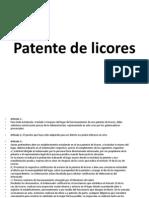 Patente de Licores